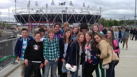The Etone College pupils pose in front of the Olympic Stadium