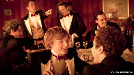 Posh cast - foreground: Harry Lister Smith (Ed Montgomery), Joshua McGuire (Guy Bellingfield) background: Jolyon Coy (Toby Maitland), Tom Mison (James Leighton-Masters), Richard Goulding (George Balfour), Henry Lloyd-Hughes (Dimitri Mitropoulos)