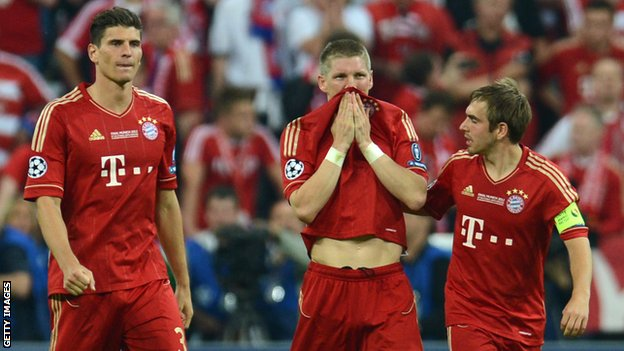 Mario Gomez (left), Bastian Schweinsteiger and Philipp Lahm