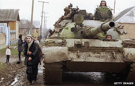 Russian tank in a Chechen village