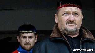 Chechen leader Akhmad Kadyrov, right