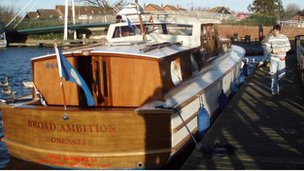 Broad Ambition at Wroxham, docked and ready for launch