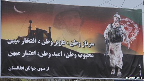 A poster supporting the Afghan National Army