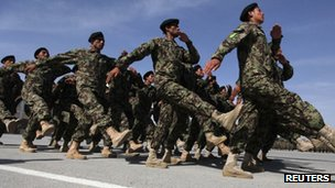 Afghan National Army soldiers march during the graduation ceremony which marks the completion of nine weeks of training at the Kabul Military Training Center (KMTC) in Kabul May 10, 2012.