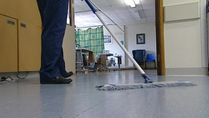 Cleaning at a hospital