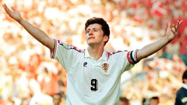 Davor Suker scores for Croatia against Denmark at Euro 96