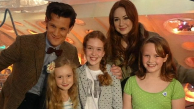 Rebecca, Emily and Libby with Dr Who stars Matt Smith and Karen Gillan