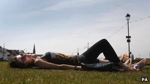 Hanna Wright sunbathing in Largs