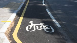 General view of a bicycle lane