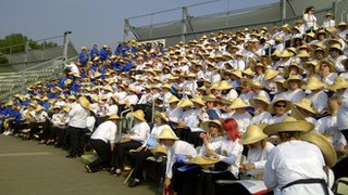 Part of the choir get ready at New Road