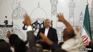 Iran&#039;s chief negotiator Saeed Jalili speaks at a news conference in Baghdad. Photo: 24 May 2012