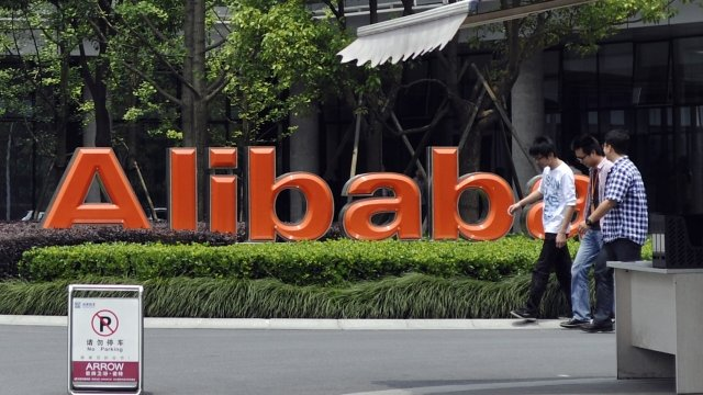 Staff at Alibaba's headquarters in China