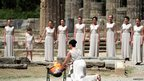 High Priestess Ino Menegaki lights the Olympic flame at the Temple of Hera