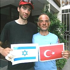 Climbers Nadav Ben-Yehuda (left) and Aydin Irmak after descent (pic: Israeli embassy, Kathmandu)