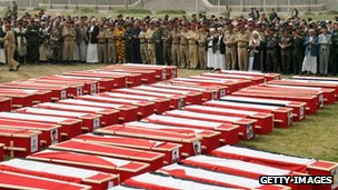 The coffins of 96 soldiers who were killed in a suicide bombing in Sanaa, Yemen