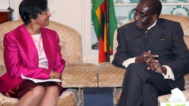 United Nations High Commissioner for Human Rights Navi Pillay, left, meets Zimbabwean President Robert Mugabe