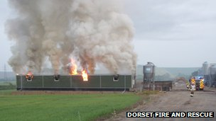 Fire at farm in Dorset