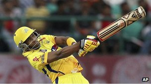 "Chennai Super Kings"" Dwayne Bravo bats during an Indian Premier League cricket match against Kings XI Punjab in Dharmsala, India, Thursday, May 17, 2012."