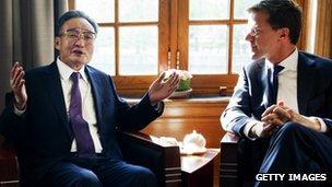 Wu Bangguo and Mark Rutte