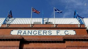 The front of Rangers&#039; Ibrox Stadium