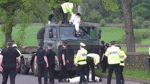 Stopping the nuclear warhead convoy below Stirling Castle, May 2004