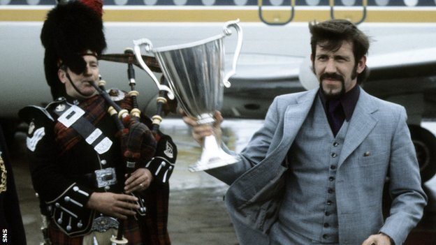 Former Rangers captain John Greig with the European Cup Winners' Cup