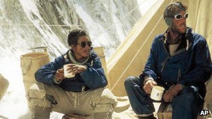 Explorers Sardar Tenzing Norgay of Nepal, left, and Sir Edmund Hillary of New Zealand 