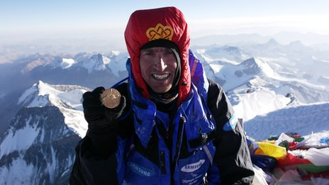 Kenton Cool on the summit of Everest with the Olympic gold medal