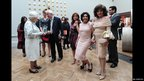 Queen Elizabeth II meets actress Joan Collins (R), singer Shirley Bassey (C) and actress Kate O'Mara (L) at a special Celebration of the Arts event at the Royal Academy of Arts 23 May 2012 in London, England