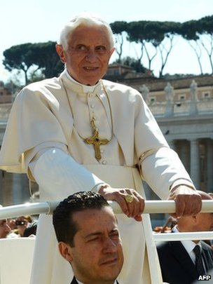 The Pope's ex-butler Paolo Gabriele sits in the Popemobile on 18 April 2012