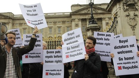 Republic protest at Buckingham Palace against the invitations of royal dictators from around the world to the Queen's Diamond Jubilee dinner at Buckingham Palace - May 18, 2012