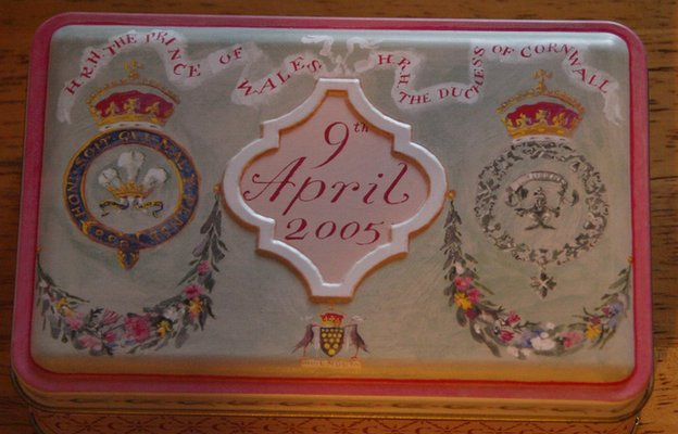 Biscuit tin inscribed with the date of Prince Charles's wedding date