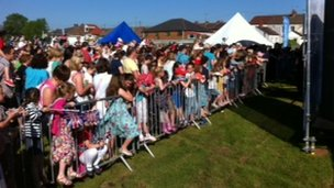 Crowds in Caerphilly