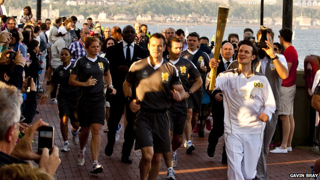 Doctor Who actor Matt Smith in the Torch Relay. Photo: Gavin Bray