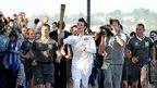 Doctor Who star Matt Smith running with the Olympic torch in Cardiff, 26 May 2012