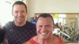 Hugh Jackman at the gym with Vince D'Alessandro