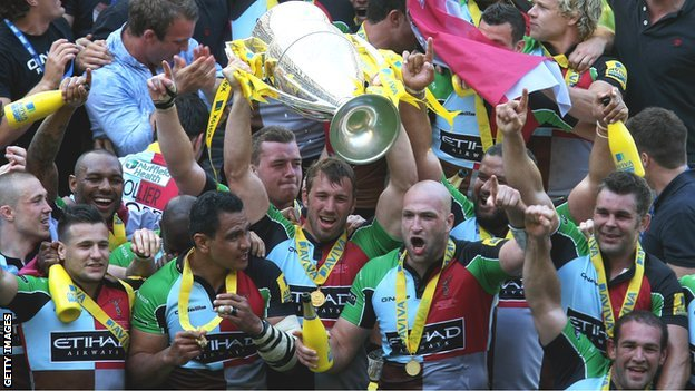 Harlequins celebrate their debut Premiership title