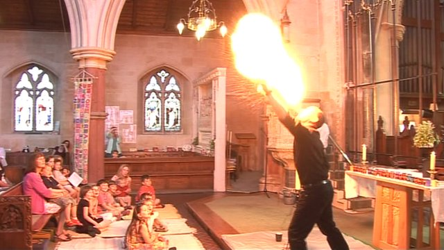 Vicar Nick Davies learnt to eat fire to entertain friends