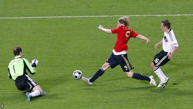 Fernando Torres scores the winning goal in the Euro 2008 final