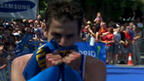 Britain's Jonathan Brownlee celebrates victory in Madrid
