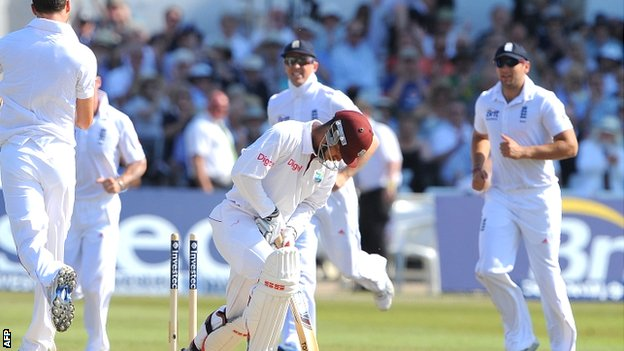 Kieran Powell is bowled by James Anderson