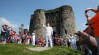 Torchbearer Peter Hale at Kidwelly Castle