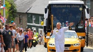 Eric Mathias carried the torch at Haverfordwest