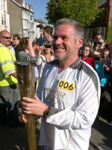 Chris Moyles with his Olympic torch