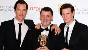 Steven Moffat received the Special Award from Benedict Cumberbatch and Matt Smith
