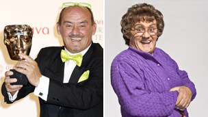 Brendan O'Carroll at the Bafta Awards (left) and in Mrs Brown's Boys