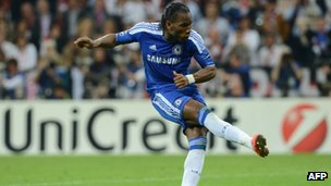 Didier Drogba shoots at the UEFA Champions League final football match between FC Bayern Muenchen and Chelsea FC on 19 May 2012