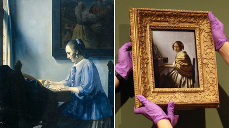 Left, painting by Han Van Meegeren in the style of Johannes Vermeer; and right, Vermeer's Young Woman Seated At A Virginal