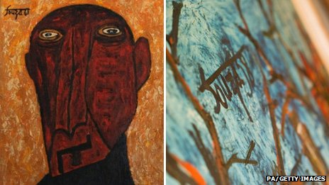 Mumford's painting in the style of Souza, left, and a detail of a work by Souza himself