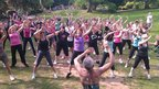 Women take part in a 'Zumbathon' in Priory Park